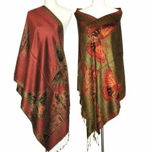 New Burgundy butterfly reversible cashmere wrap